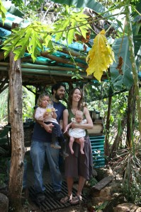 The family in front of our jungle kitchen, Tacotal, Costa Rica