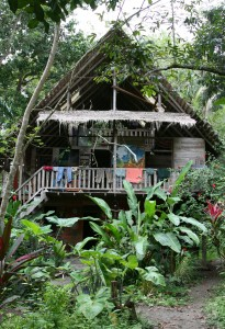 Dormitory made of reclaimed wood and other natural materials at Punta Mona